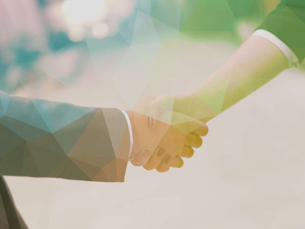 Double exposure design. Business partners concept with businessman and businesswoman handshake at modern office indoors.jpeg