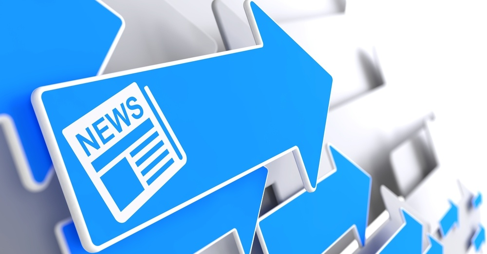 Newspaper Icon with News Title - Blue Arrow on a Grey Background. Mass Media Concept..jpeg